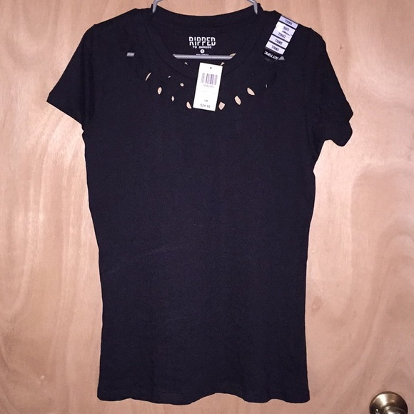 a016913b Hot Topic Tops | Nwt Ripped To Shreds Black Tshirt With Wings | Poshmark